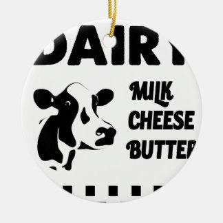 Dairy farm fresh, milk cheese butter round ceramic decoration