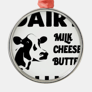 Dairy farm fresh, milk cheese butter Silver-Colored round decoration