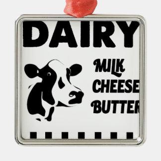 Dairy farm fresh, milk cheese butter Silver-Colored square decoration