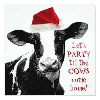 Dairy Farm Staff Christmas Party 13 Cm X 13 Cm Square Invitation Card