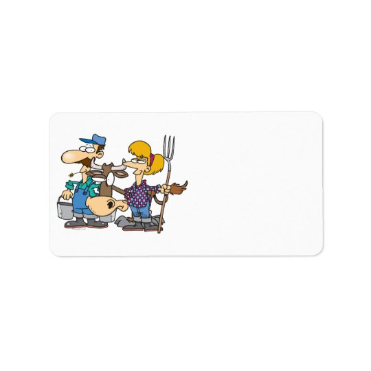 dairy farmers with silly cow cartoon address label