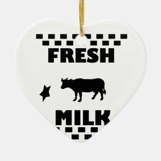 Dairy fresh cow milk ceramic heart decoration