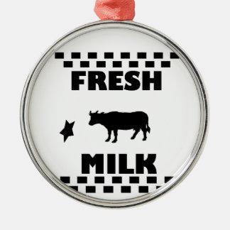 Dairy fresh cow milk Silver-Colored round decoration