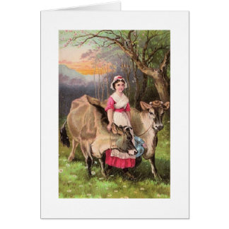 Dairy Maid and Cows, Greeting Card