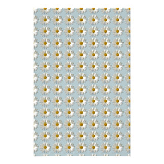 Daises Daisy white blue gold pattern background Stationery
