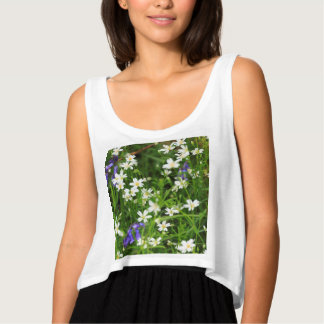 Daisies and Blue Bells Flowy Women's Tank Top
