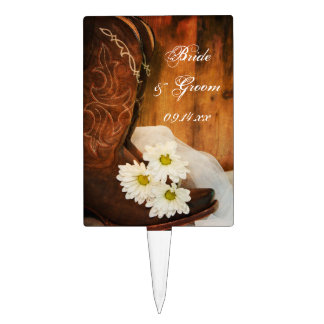 Daisies and Boots Country Wedding Cake Topper