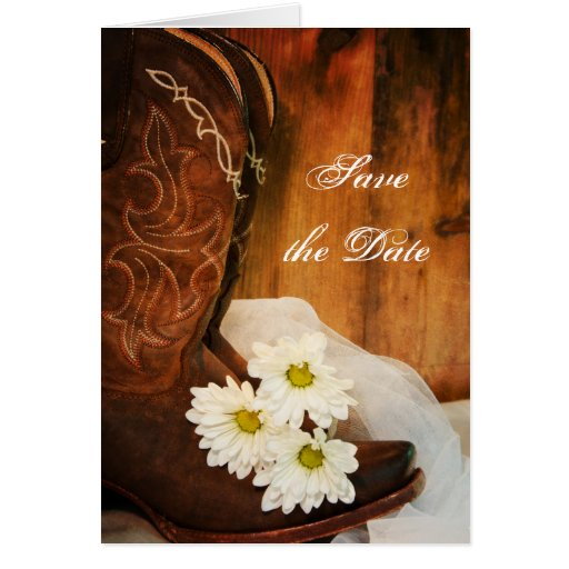 Daisies and Boots Country Wedding Save the Date Card