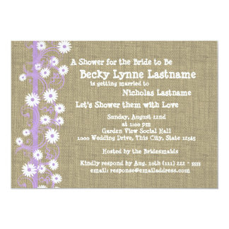"Daisies and Burlap Purple Bridal Shower 5"" X 7"" Invitation Card"