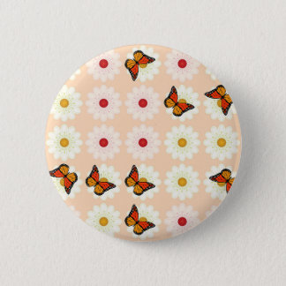 Daisies and butterflies 6 cm round badge