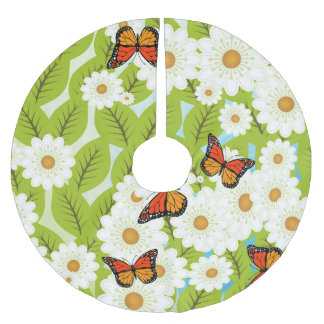 Daisies and butterflies brushed polyester tree skirt