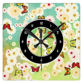 Daisies and butterflies clock