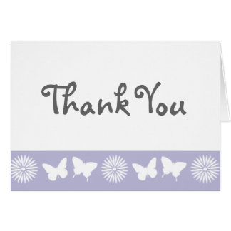 Daisies and Butterflies in Lavender Thank You Card