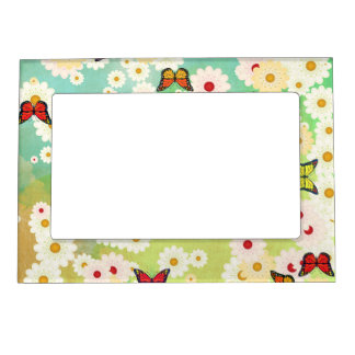 Daisies and butterflies magnetic frame