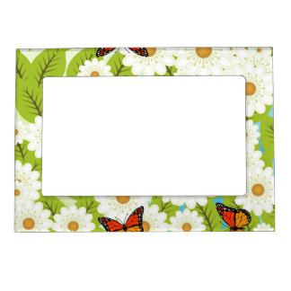 Daisies and butterflies magnetic picture frame