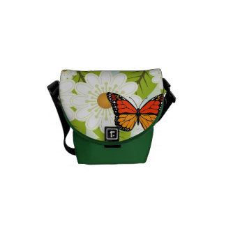 Daisies and butterflies messenger bag