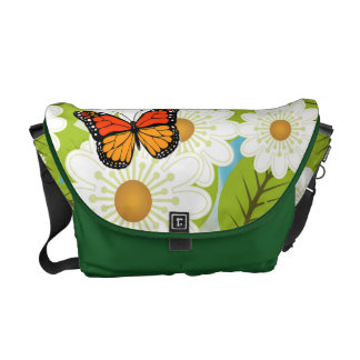 Daisies and butterflies messenger bags