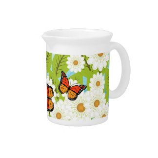 Daisies and butterflies pitcher