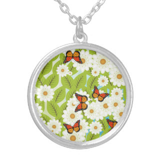 Daisies and butterflies silver plated necklace