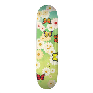 Daisies and butterflies skate board deck