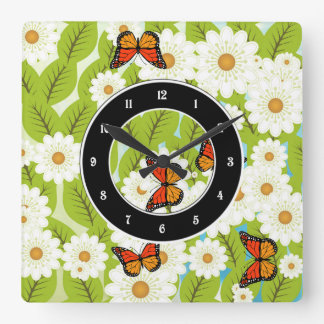 Daisies and butterflies square wall clock