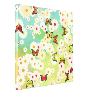 Daisies and butterflies stretched canvas prints