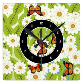 Daisies and butterflies wall clocks