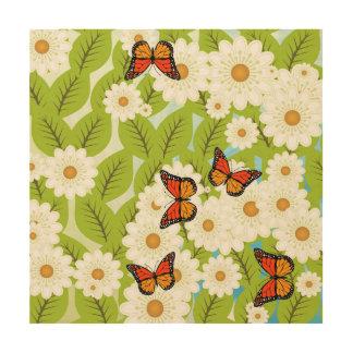 Daisies and butterflies wood wall art