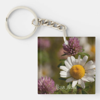 Daisies and Clover; Customizable Single-Sided Square Acrylic Key Ring