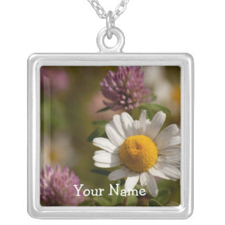 Daisies and Clover; Customizable Square Pendant Necklace