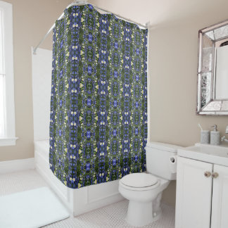 Daisies and Delphiniums Geometric Shower Curtain