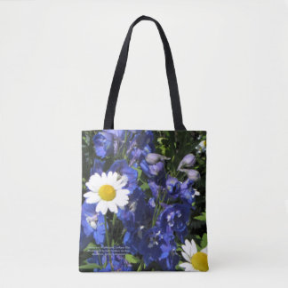 Daisies and Delphiniums. Larkspur Blue Tote Bag