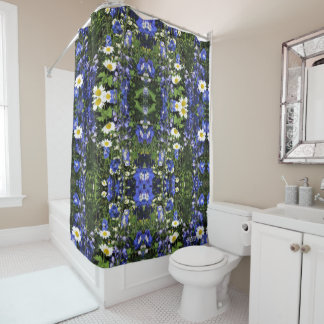 Daisies and Delphiniums Pink Geometric Shower Curtain