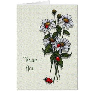 Daisies and Ladybugs: Original Art: Thank You Greeting Card