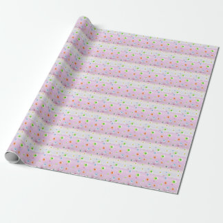Daisies and love on pretty pastel pink stripes wrapping paper