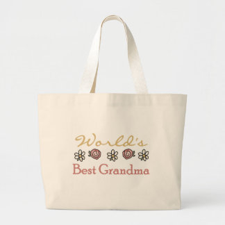 Daisies and Roses World Best Grandma Jumbo Tote Bag