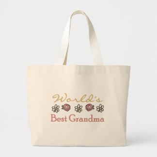 Daisies and Roses World Best Grandma Jumbo Tote Bag