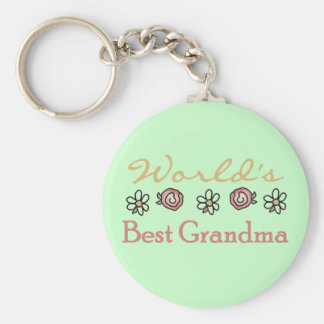 Daisies and Roses World's Best Grandma Basic Round Button Key Ring