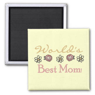 Daisies and Roses World's Best Mum Square Magnet