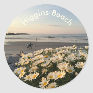 Daisies and Surfers on Higgins Beach Classic Round Sticker