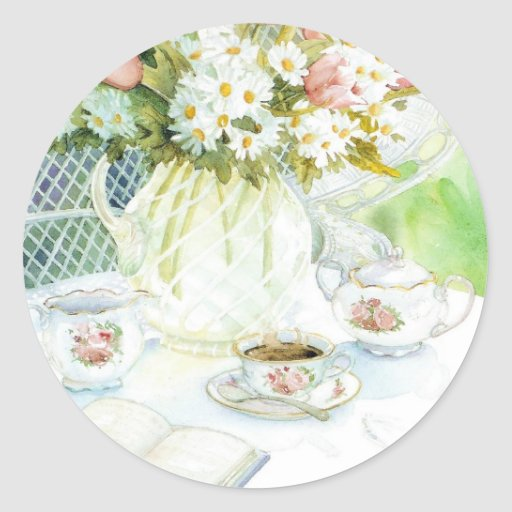 Daisies and Tulips and Tea Sticker