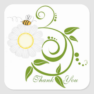 Daisies and Vines Square Sticker