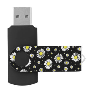 Daisies - Black USB Flash Drive