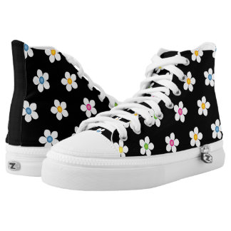 Daisies Black  Zipz Hig Top Shoes Canvas Men/Women Printed Shoes