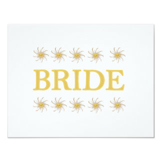 """Daisies Bride T-shirts and Gifts 4.25"""" X 5.5"""" Invitation Card"""