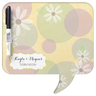 Daisies & Colored Circles Personalized Dorm Room Dry Erase Board