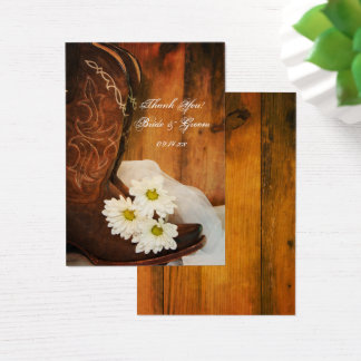 Daisies Cowboy Boots Country Wedding Favor Tags Business Card