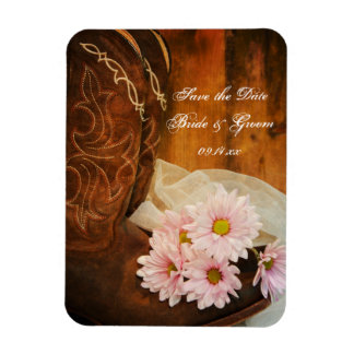Daisies Cowboy Boots Western Wedding Save the Date Rectangular Photo Magnet