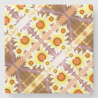 Daisies faded stone beverage coaster