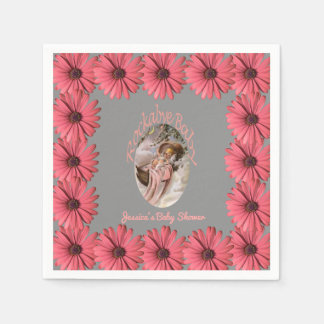 Daisies Girl Baby Shower | Custom Floral Pink Gray Paper Napkin
